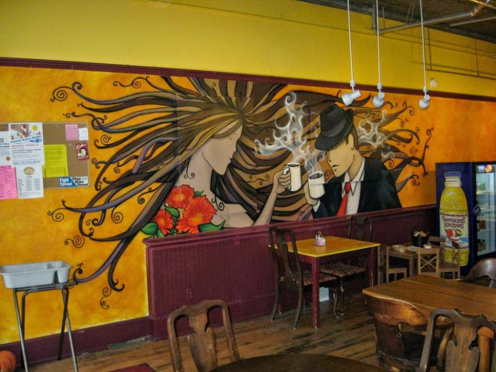 tranh phông nền quán cafe