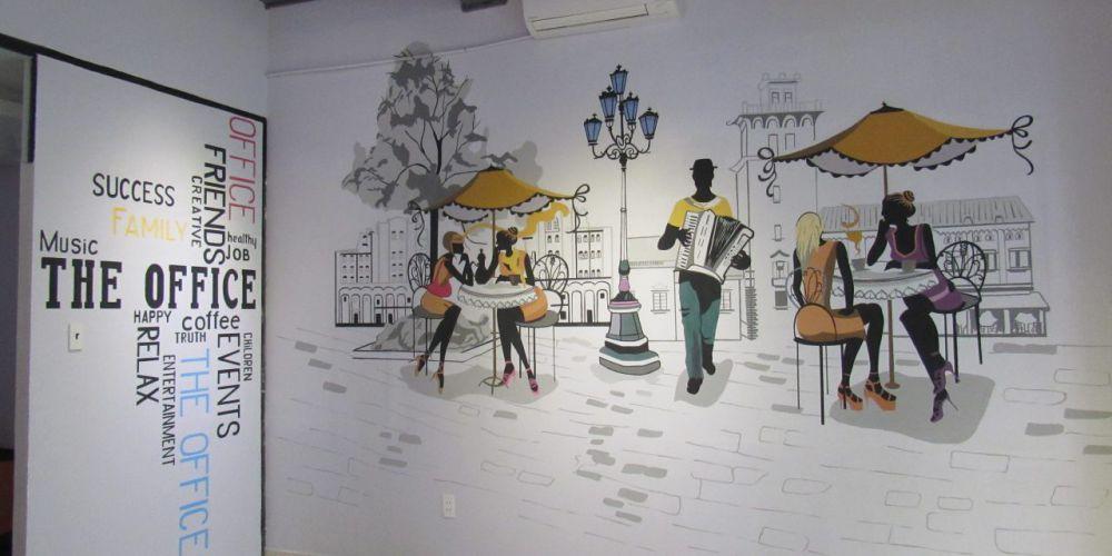 Phông nền trang trí quán café